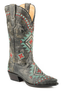WOMENS WIDE CALF LEATHER COWBOY BOOT VINTAGE BLACK WITH ALL OVER SOUTHWEST EMBROIDERY