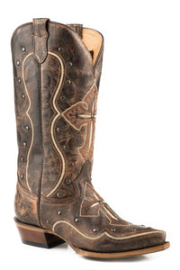 WOMENS WIDE CALF LEATHER COWBOY BOOT VINTAGE BROWN WITH EMBROIDERED CROSS AND STUD DESIGN