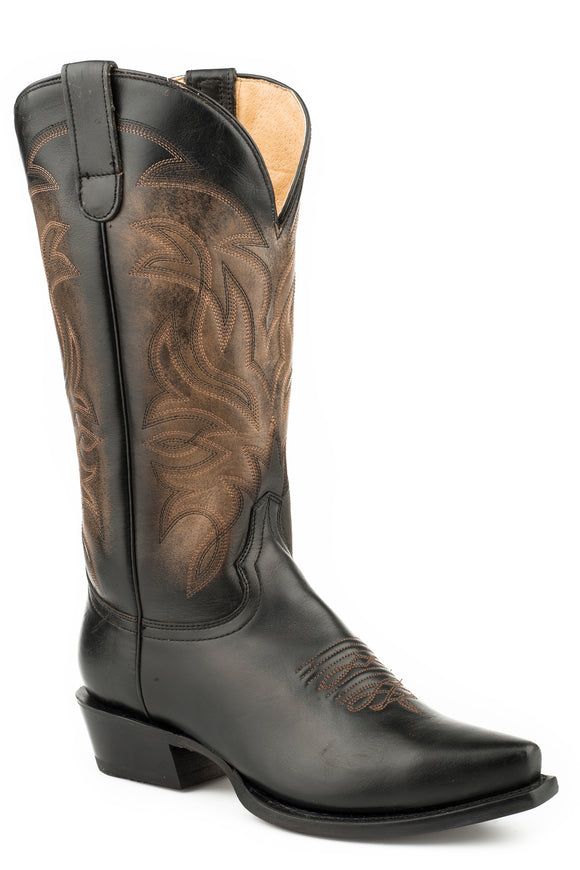 WOMENS WIDE CALF LEATHER COWBOY BOOT BRUSH OFF BLACK BROWN