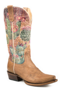 WOMENS WIDE CALF LEATHER COWBOY BOOT WAXY TAN WITH PRINTED CACTUS UPPER