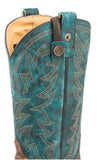 WOMENS CONCEALED CARRY LEATHER COWBOY BOOT VINTAGE BROWN VAMP WITH EMBROIDERED TURQUOISE UPPER