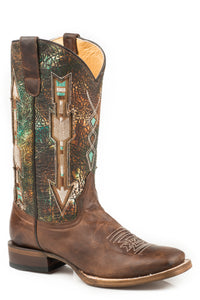 WOMENS CONCEALED CARRY LEATHER COWBOY BOOT WAXY BROWN VAMP MULTI COLOR UPPER WITH EMBROIDERED ARROW UNDERLAY DESIGN