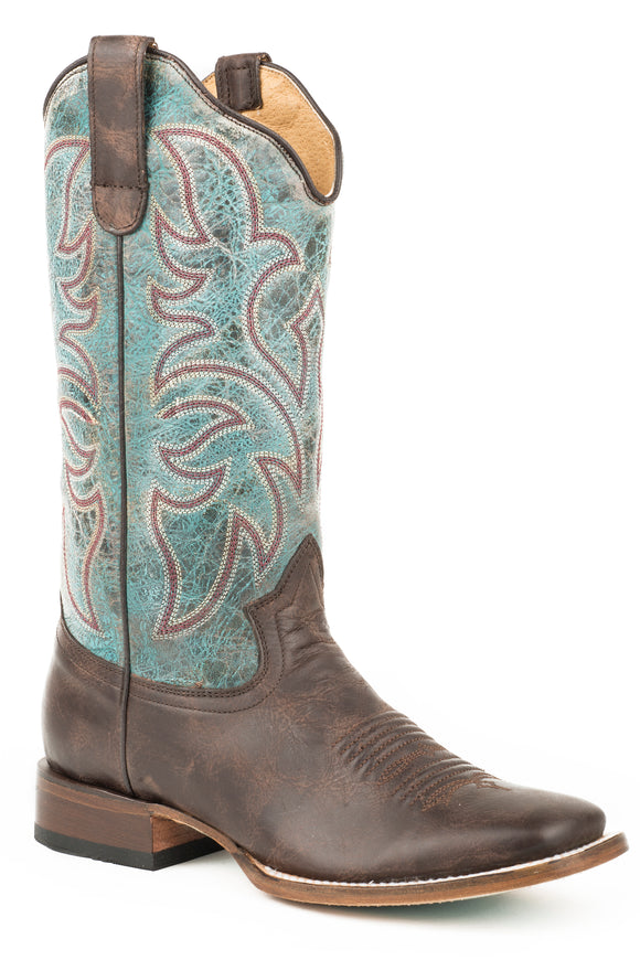WOMENS LEATHER COWBOY BOOT VINTAGE BROWN VAMP WITH VINTAGE TURQUOISE LEATHER UPPER