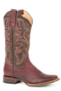 WOMENS LEATHER COWBOY BOOT BURNISHED WINE VAMP WITH BURNISHED BROWN UPPER WITH CLASSIC EMBROIDERY