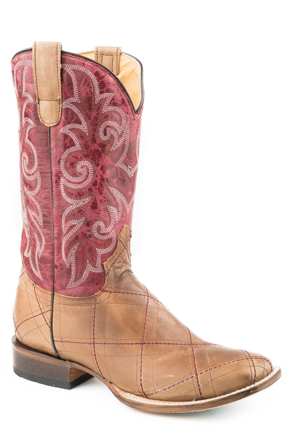 WOMENS LEATHER COWBOY BOOT WAXY TAN VAMP WITH MARBLED WINE UPPER
