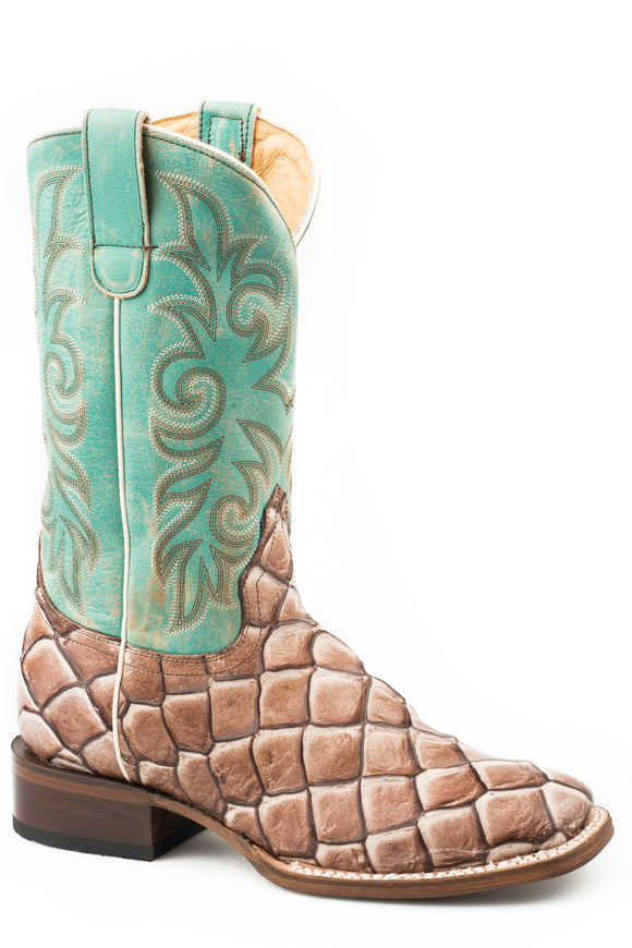 WOMENS TAN EMBOSSED PIRARUCU VAMP WITH TURQUOISE UPPER