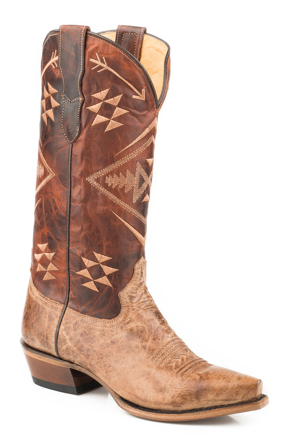 WOMENS LEATHER COWBOY BOOT VINTAGE TAN VAMP WITH AZTEC EMBROIDERED WAXY COGNAC UPPER