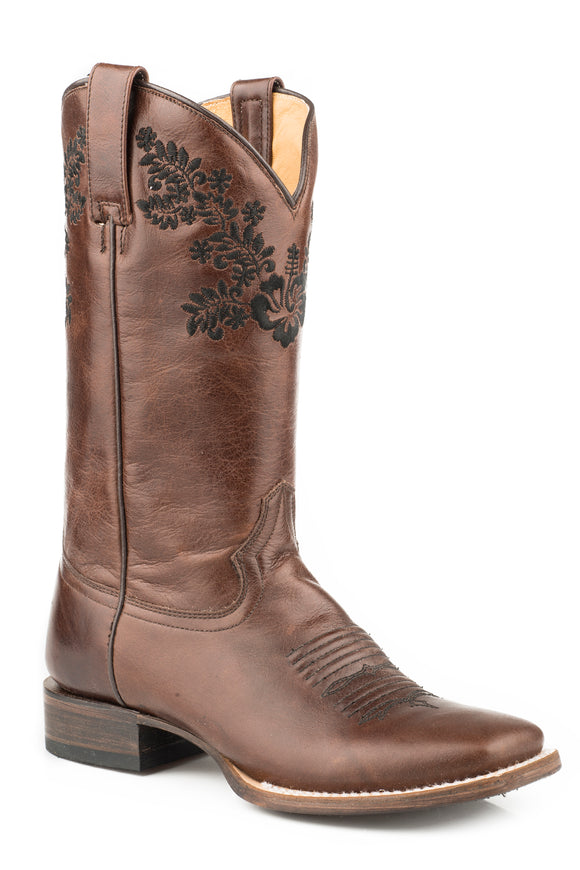 WOMENS LEATHER COWBOY BOOT MARBLED BROWN WITH FLOWER EMBROIDERY ON UPPER