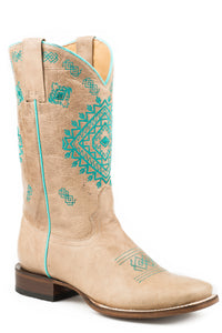 WOMENS LEATHER COWBOY BOOT MARBLED TAN WITH NATIVE EMBROIDERY