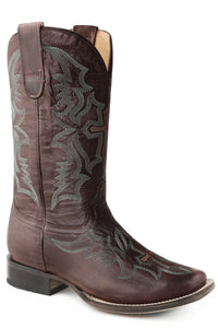 WOMENS LEATHER COWBOY BOOT WAXY BROWN WITH EMBROIDERY