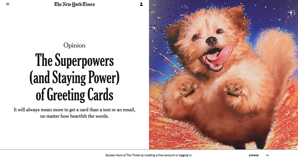 From The NYT: The Superpowers (and Staying Power) of Greeting Cards