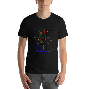 dirtystyluswear - Subway Black Music Evolution Map - Men's Unisex Premium DJ T-Shirt - dirtystyluswear.com - T-Shirt