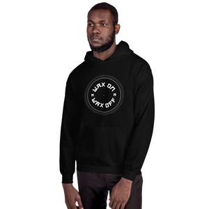 dirtystyluswear - Wax On Wax Off - Mens Unisex DJ Turntable Vinyl Hoodie - dirtystyluswear.com - Hoodie
