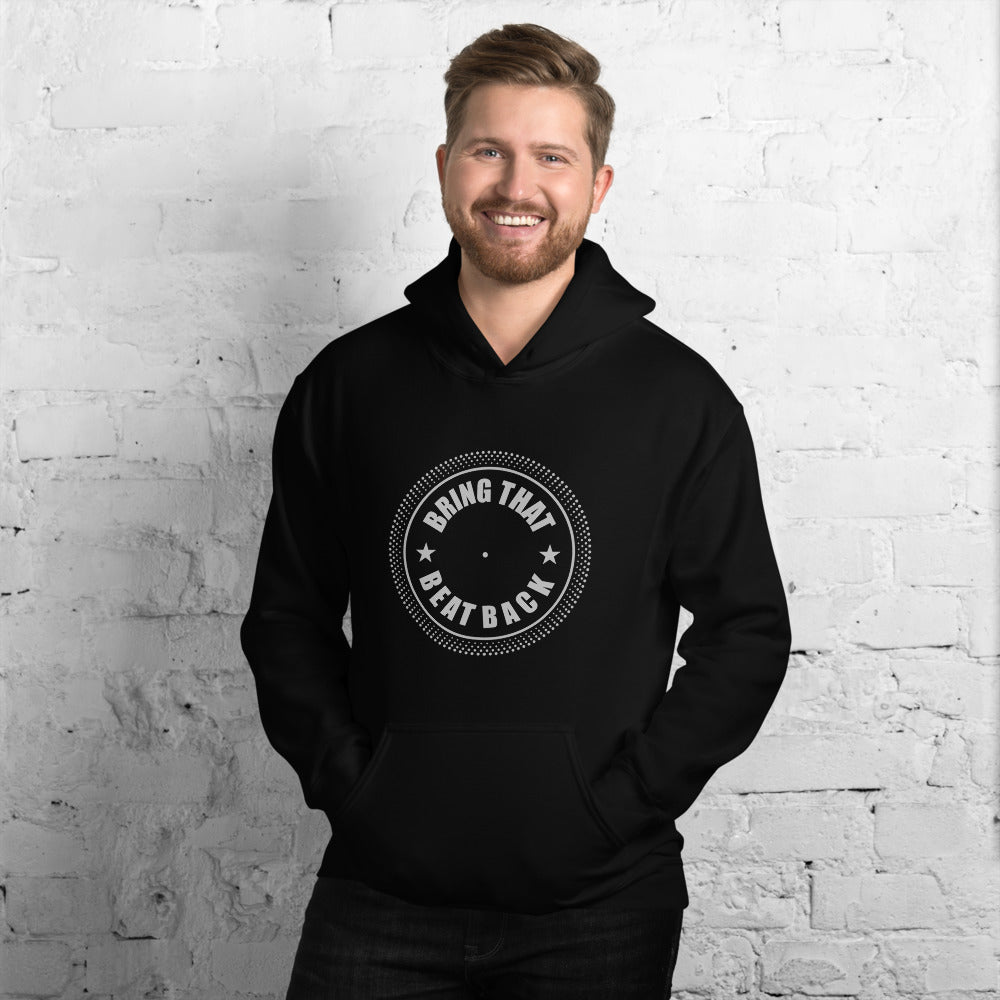 dirtystyluswear - Bring That Beat Back Turntable Platter - Mens Unisex DJ Hoodie - dirtystyluswear.com - Hoodie