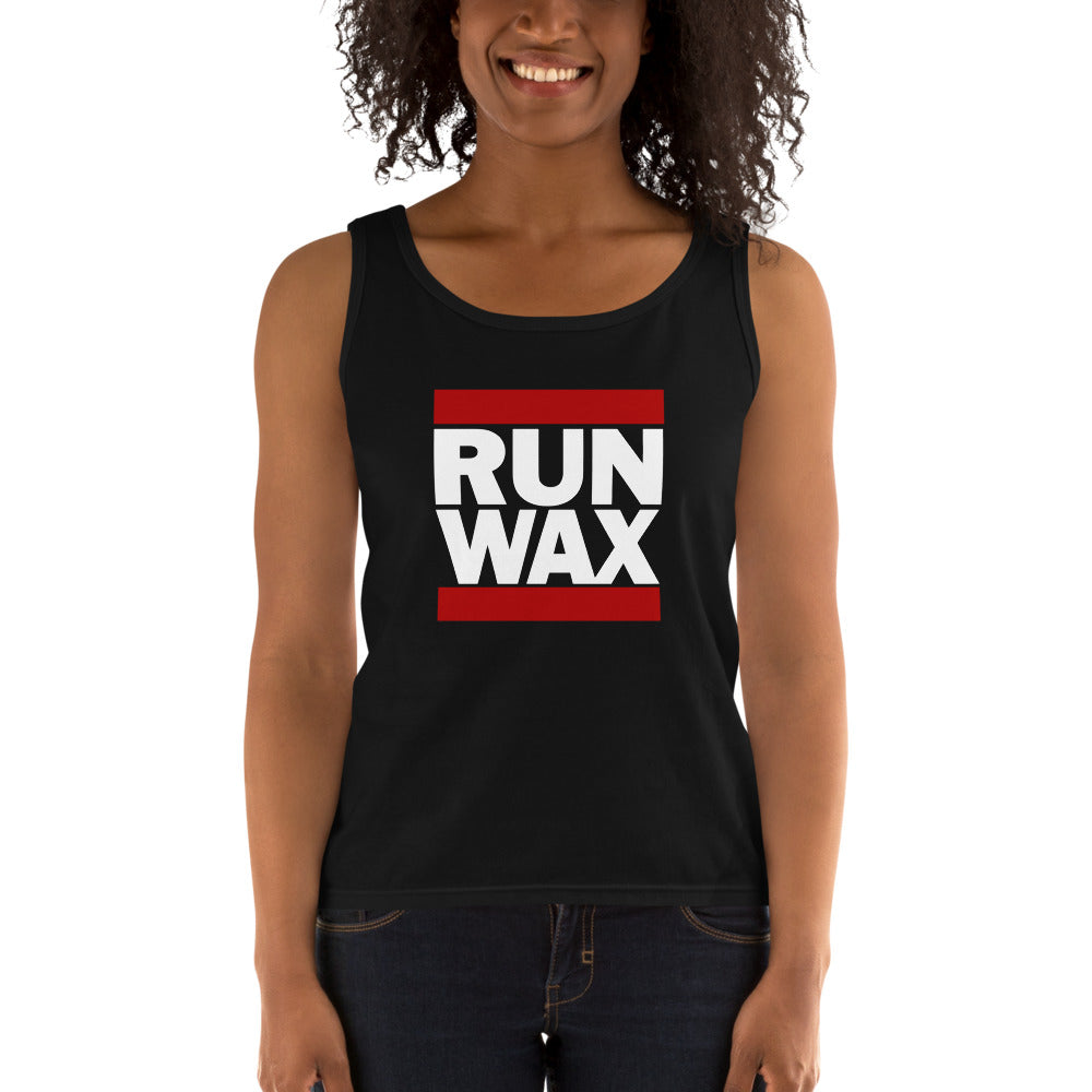 dirtystyluswear - Run Wax - Ladies DJ Vinyl Record Turntable Tank Top - dirtystyluswear.com - Ladies Tank