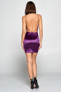 Forever Your Girl Satin Dress in Purple