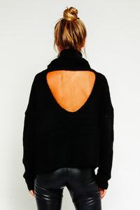 Fuzzy Open Back Turtleneck Sweater