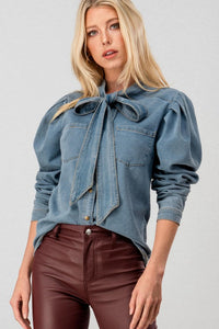 Puffy Denim Long Sleeve Top