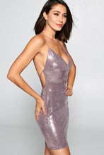 Load image into Gallery viewer, Is It Just Pink Mini Metallic Dress