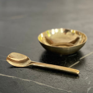 Hammered Brass Bowl + Spoon Set