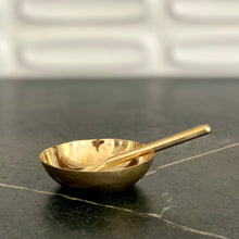 Load image into Gallery viewer, Hammered Brass Bowl + Spoon Set