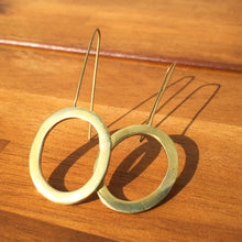 Load image into Gallery viewer, Brass Oval Drop Earrings