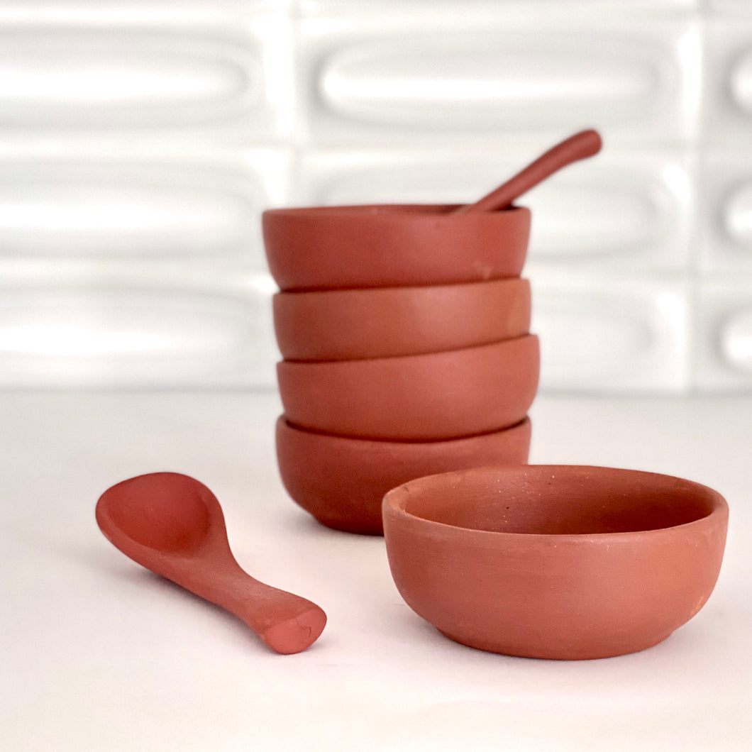 Terra Cotta Small Bowl + Spoon