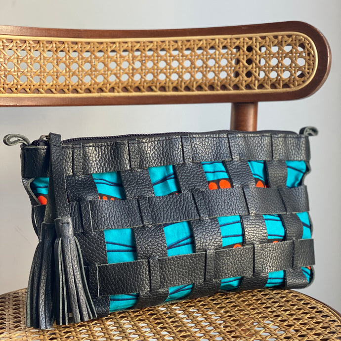 Woven Vegan Leather Clutch - Turquoise