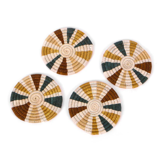 Coaster Set - Striped Sand + Hunter Green