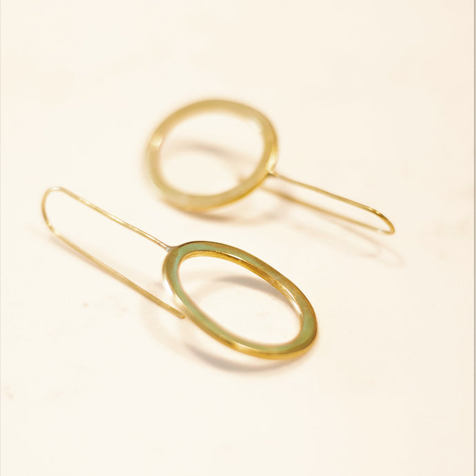 Brass Oval Drop Earrings