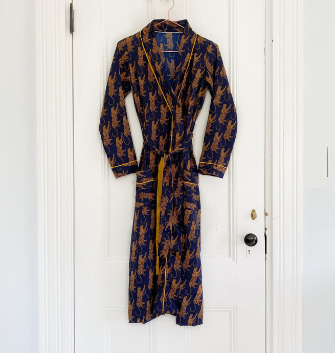 Silk Robe - Navy Leopard