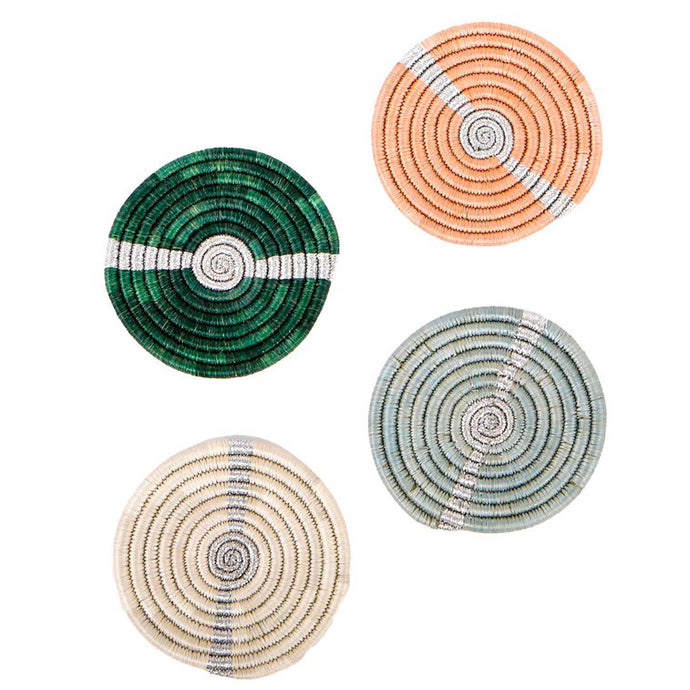 Coaster Set - Striped Metallic Floret