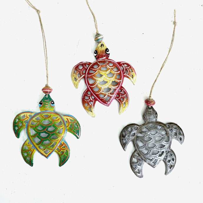 Haitian Steel Drum Turtle Ornament