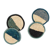Load image into Gallery viewer, Coaster Set - Cool Color-Blocked Dipped Raffia