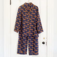 Load image into Gallery viewer, Women's Silk Pajamas - Navy Leopard