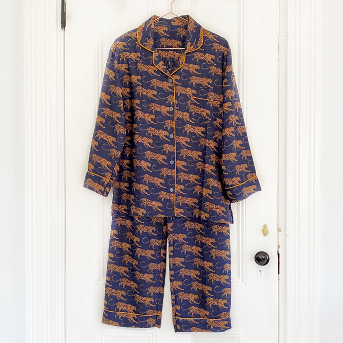 Women's Silk Pajamas - Navy Leopard