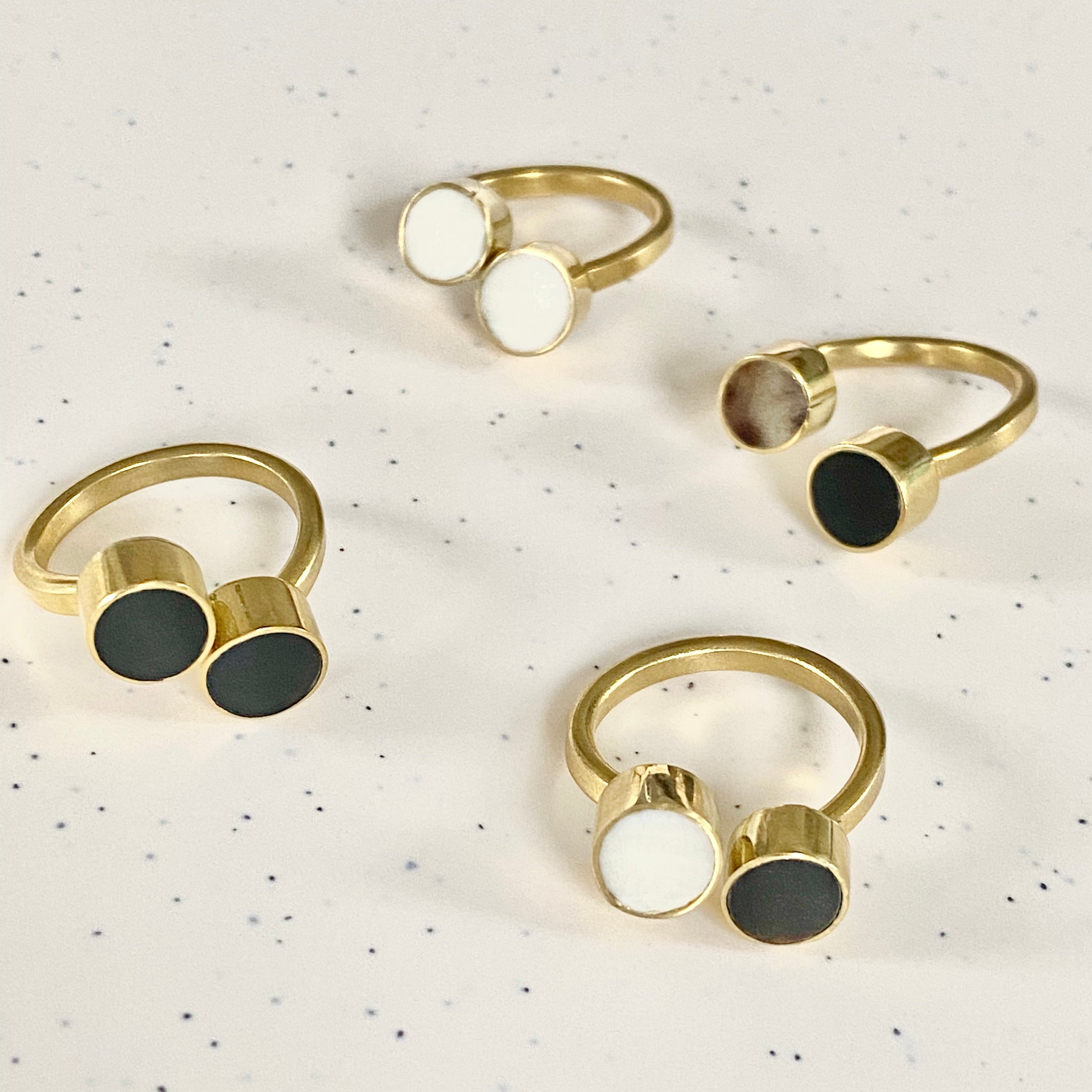 Double Dot Ankole Horn and Brass Ring