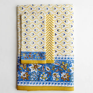 Jacob Little-Dulwich Hill-Tablecloth-Hand Block Printed-Blue and Yellow