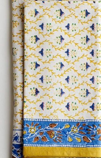 Jacob Little-Dulwich Hill-Napkins-Hand Block Printed-Yellow and Blue