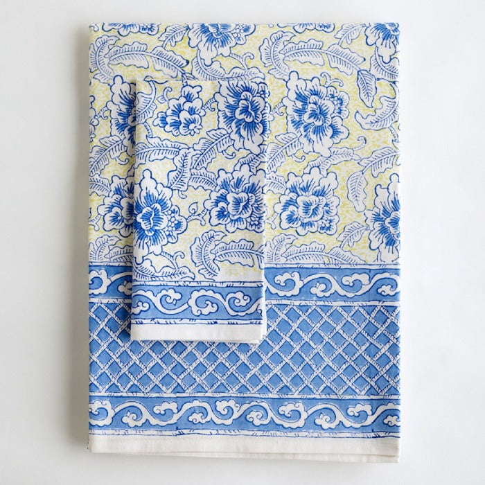 Jacob Little-Dulwich Hill-Tablecloth-Hand Block Printed-Blue