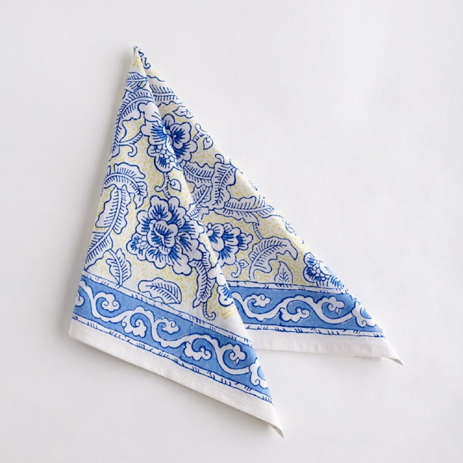 Jacob Little-Dulwich Hill-Napkins-Hand Block Printed-Bluerey