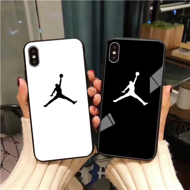 new styles f27f0 03bae Air 23 Flyman Jordan Case For iPhone X XS Max XR 8 7 6s Plus Sports Glossy  Tempered Glass Phone Cover For iPhone 7 8 Plus Coque