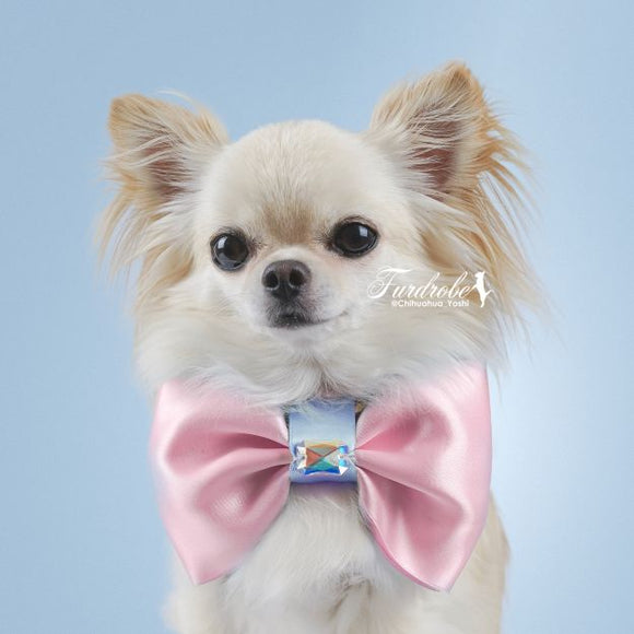 Satin Pink Large Dog Bow Tie with Blue Centre