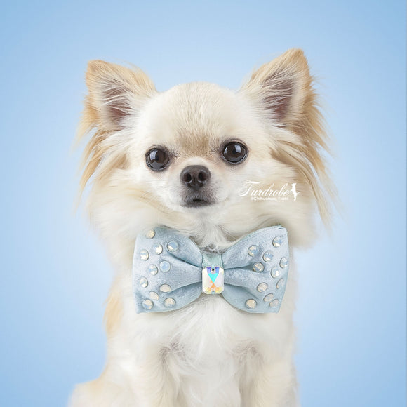Blue and Green Reversible Dog Bow Tie