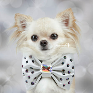 Black and Silver Reversible Dog Bow Tie
