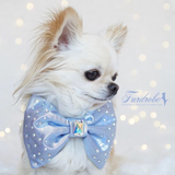 A Midsummer Night's Dream Dog Bow Tie - Metallic Blue and Lime Green