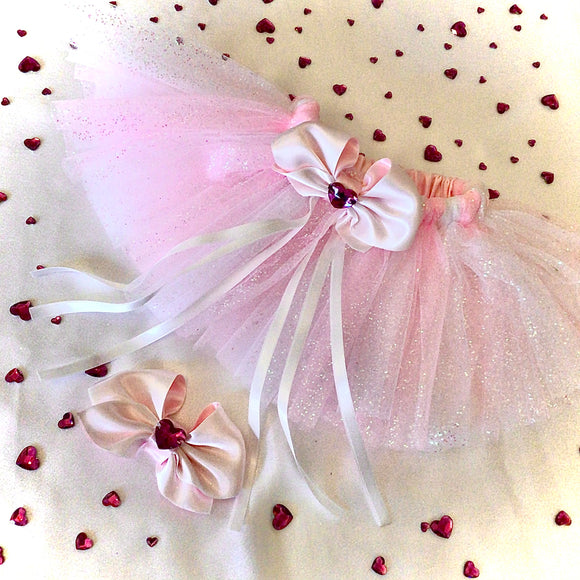 Fuchsia Amoure tutu set in pink/white