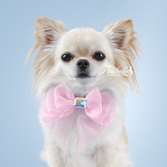 Pink Organza Dog Bow with Medium Swarovski Crystal