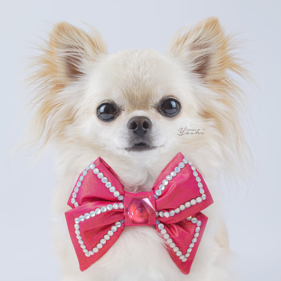 BCA hot pink silk ribbon bow tie white opals