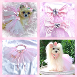Sakura Pink satin butterfly dog bow with large Swarovski crystal